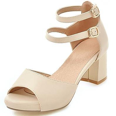 12f3f716f Amazon.com   DoraTasia Summer Women's Fashion Concise Peep Toe Cross Double  Ankle Buckle Strap Chunky Heel Sandals   Heeled Sandals