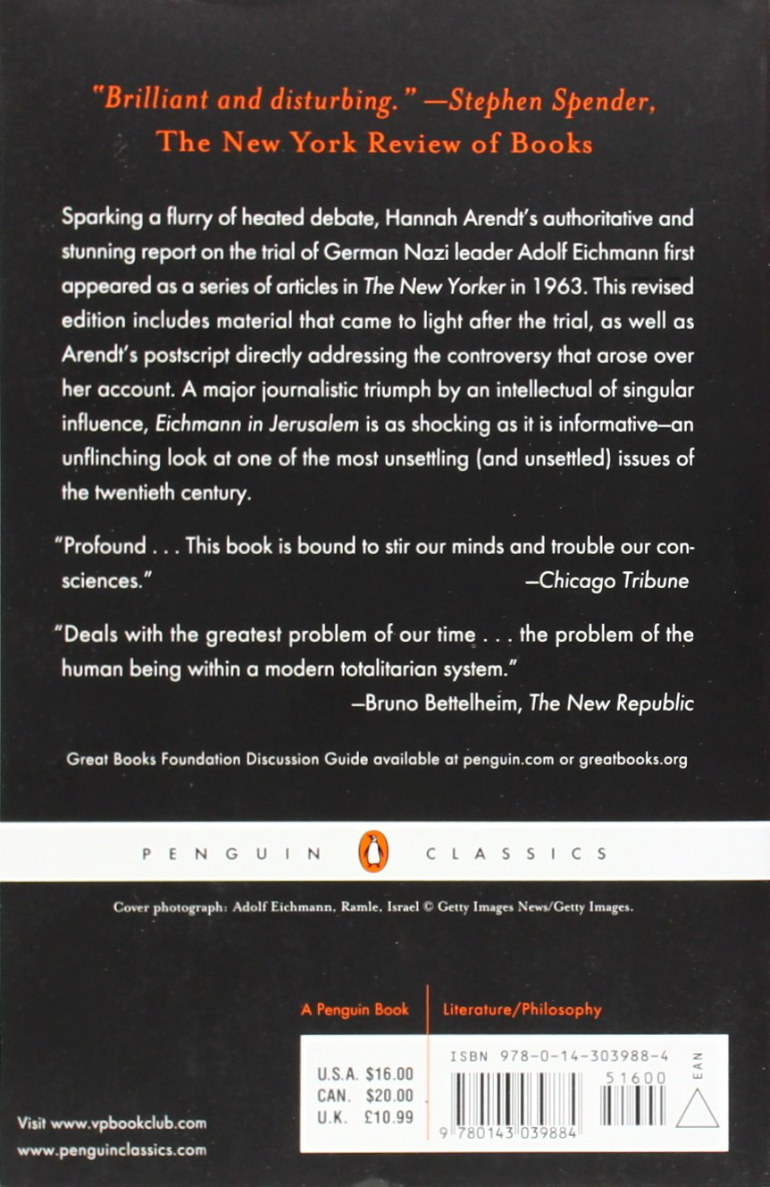 Eichmann In Jerusalem A Report On The Banality Of Evil Hannah  # Penguin Lodge Muebles