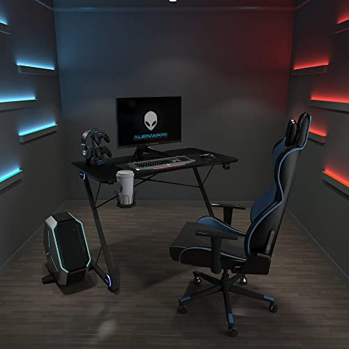 Depointer Life T-1 Gaming Desk LED Lights Z-Shaped Ergonomic Computer Desk Comfortable for PC Gamers Home Office Durable Racing Table Workstation,with Headphone Hook,Cup Holder,Game Handles Holder