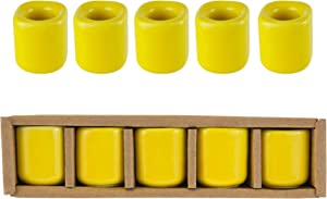 Mega Candles 5 pcs Yellow Ceramic Chime Ritual Spell Candle Holders, Great for Casting Chimes, Rituals, Spells, Vigil, Witchcraft, Wiccan Supplies & More