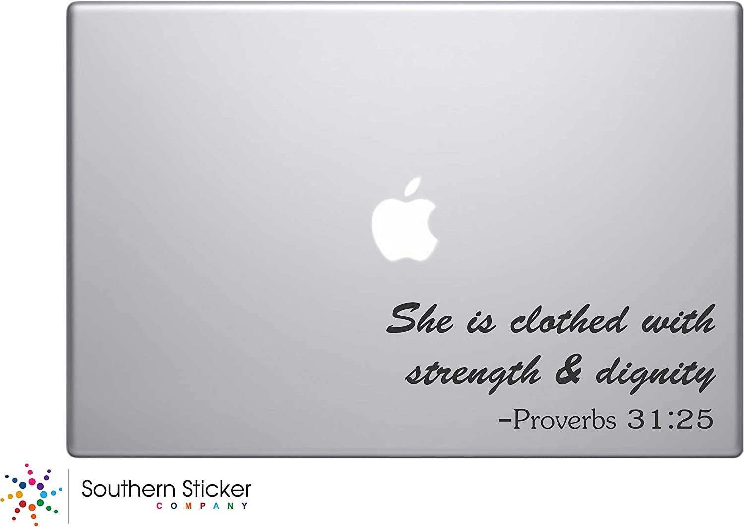 She Is Clothed with Strength and Dignity Text Bible Verse Vinyl Car Sticker Silhouette Keypad Track Pad Decal Laptop Skin Ipad Macbook Window Truck Motorcycle