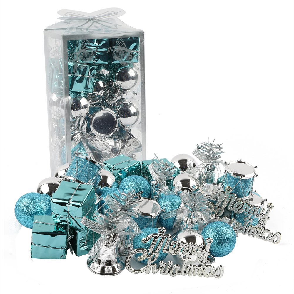 Wintry Blue And Silver Christmas Tree Ornaments