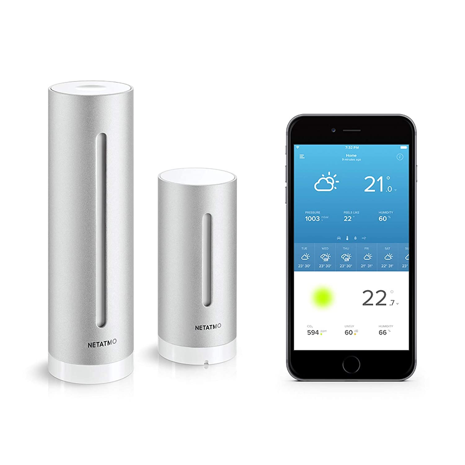 Anemometer Compatible with  Alexa Pack Netatmo Weather Station Indoor Outdoor with Wireless Outdoor Sensor Rain Gauge