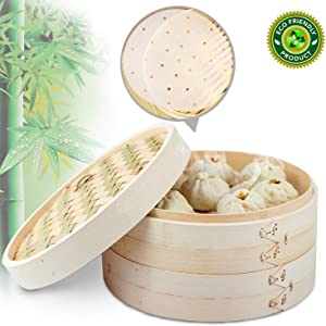 LONTAI Bamboo Steamer 2 Tier Basket with 20 Steamer Liners, Vegetable Steamer Basket Perfect for Rice, Vegetables, Meat, Fish, Dumplings and Dim Sum