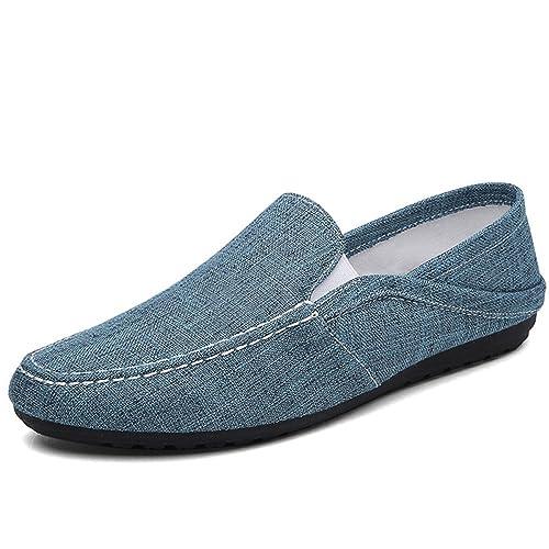 Rayas de Azul Amazon Dedos y Zapatos Zapatos para Goma de Suela y para Gris 362 Hombres Lino a Superior es Zapatos Negro Verano Mocasines Redondos wwqOzH1