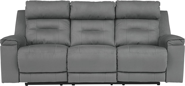 Signature Design by Ashley - Trampton Contemporary Power Reclining Sofa - Adjustable Headrest, Light Gray