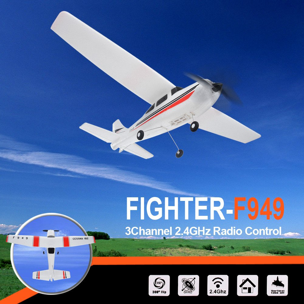 Remote Control Airplane for Beginners &Intermediate Flight Game Players F949 3CH 2.4G RC Airplane RTF Glider EPP Composite Material 14+,Designed According To Cessna-182 Plane (White) by succeedtop ❤️ Ship from US ❤️ (Image #3)