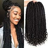 6Packs Goddess Faux Locs Crochet Hair 16 Inch Straight Goddess Locs with Curly Ends Synthetic Crochet Hair Braids for Black W