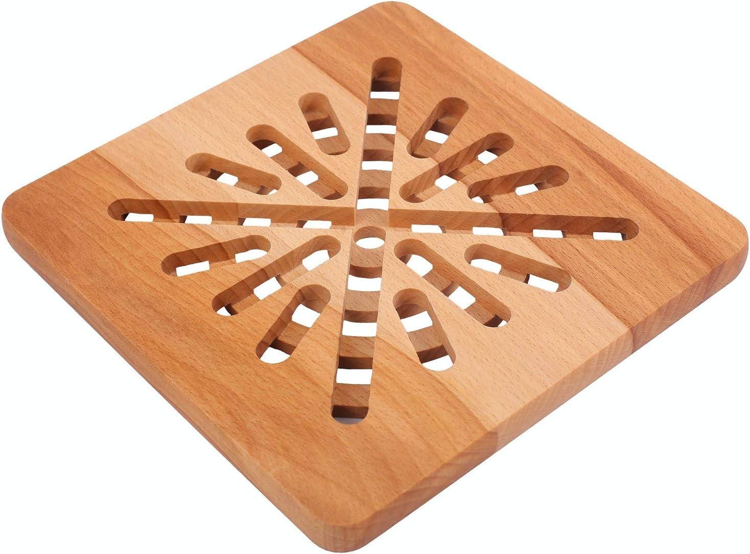 Protecteur de Table et de Comptoir 19,5 x 19,5 x 1,5 cm Bois de H/être Naturel R/ésistant /à la Chaleur et /Écologique Creative Home Dessous de Plat en Bois Carr/é R/éversible