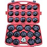 Coffret de 28 clés cloche pour filtre à huile - avec un adaptateur + une clé universelle + une mallette