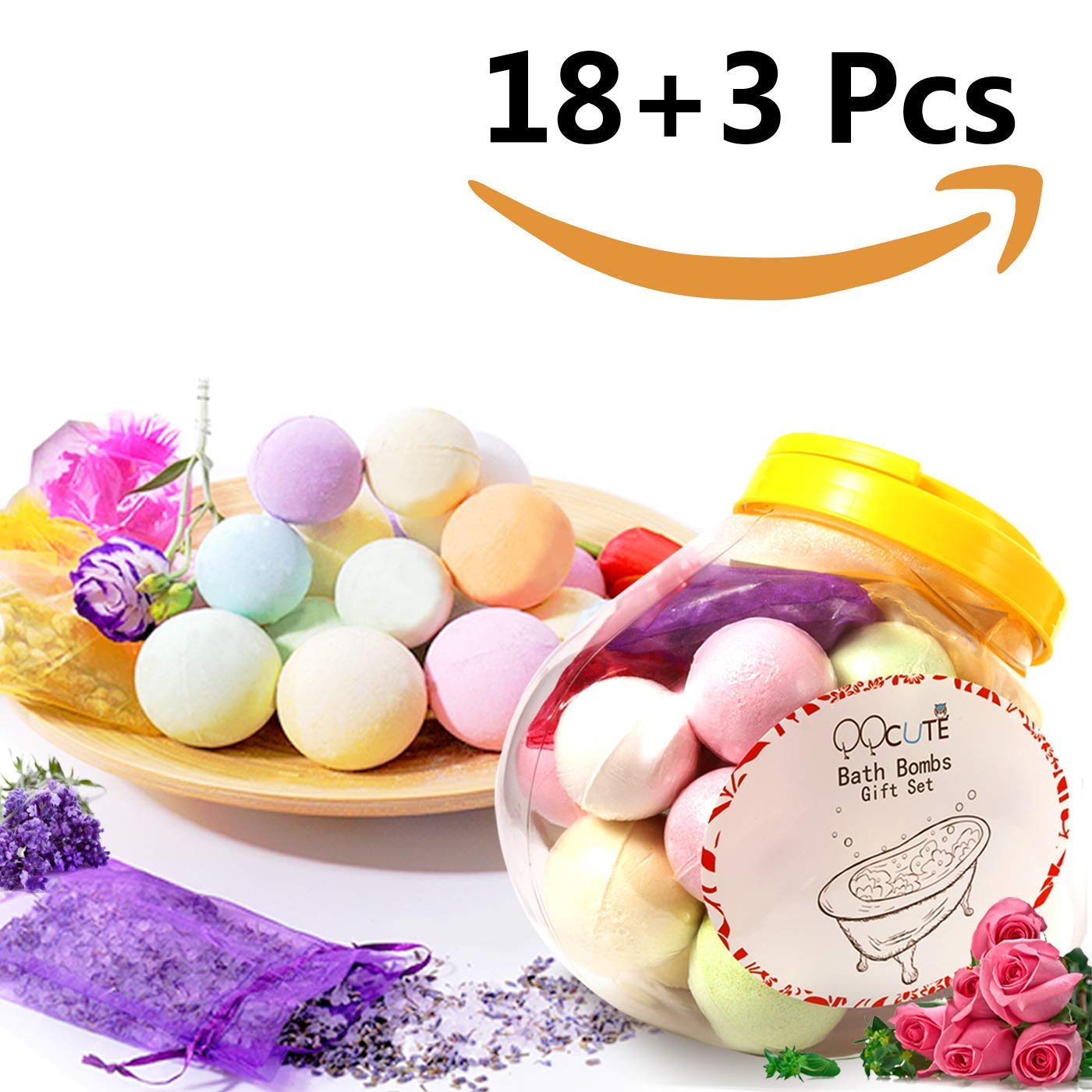 Qqcute Bath Bombs Gift Set 18 Family Spa Vegan Lush Fizzies With
