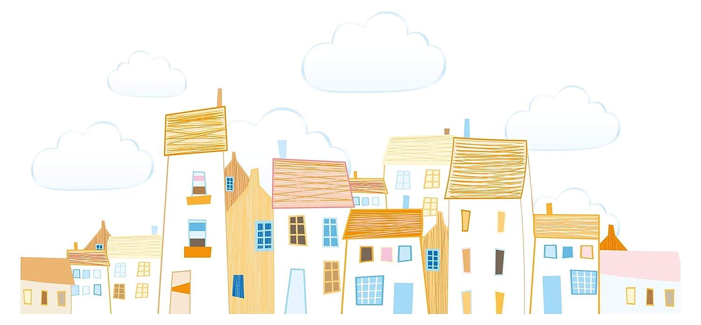 Wandtattoo Kinderzimmer Wandtattoo Stadtbild Gemalte Häuser in bunten Farben mi