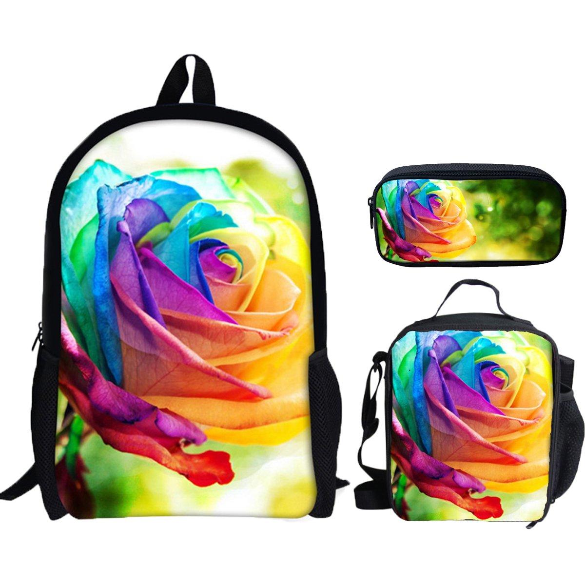 3 Pieces Girls Flowers Rose Printing School Backpacks for Teens Bookbags Set