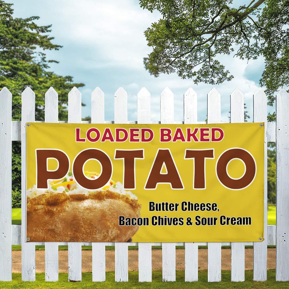 Multiple Sizes Available Vinyl Banner Sign Loaded Baked Potato #1 Baked Potato Marketing Advertising Yellow One Banner 44inx110in 8 Grommets