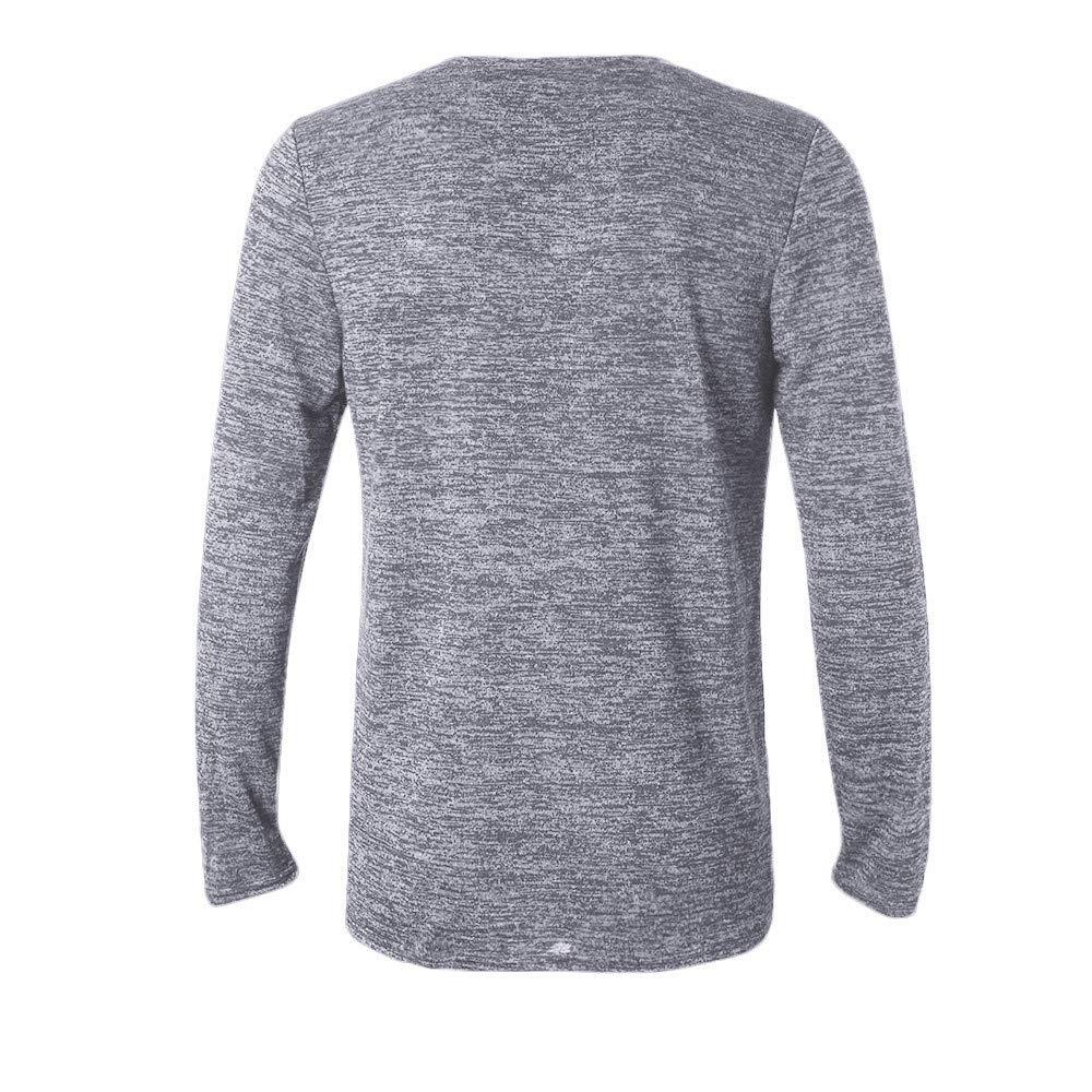 MODOQO Mens Cotton Solid Long Sleeve Henley Shirt Button Down Slim Fit T-Shirt
