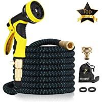 "15M Garden Hose - ALL NEW Expandable Garden Hose with Double Latex Core, 3/4"" Solid Brass Fittings, Australian Standard Universal Tap Adaptor, Expandable Water Hose Set for Car Wash, Extra Strength Fabric - Flexible Expanding Water Hose with 9 Function Spray Nozzle by McHose (Multicolored)"
