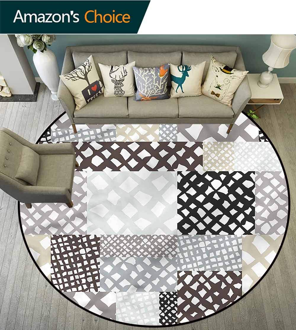 Retro Bedroom Luxurious Floor Pads Patchwork Style Figures Round Area Rugs Diameter-47 by Philip C. Williams