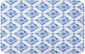 Adowyee Bath Mat Watercolor Royal Blue Filigree Navy Moroccan Tiling Delicate Abstract Cozy Bathroom Decor Bath Rug with Non Slip Backing 20
