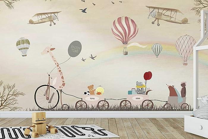 amazon com murwall kids wallpaper vintage hot air balloon wall