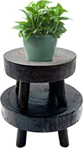 Pack of 2 Mini Wooden Stool Display Stand, Round Wooden Flower Stool Display Stand,Vintage Round Wood Grain Garden Plant Pot Riser Stand for Indoor Outdoor Home Garden Decor,(S+M)