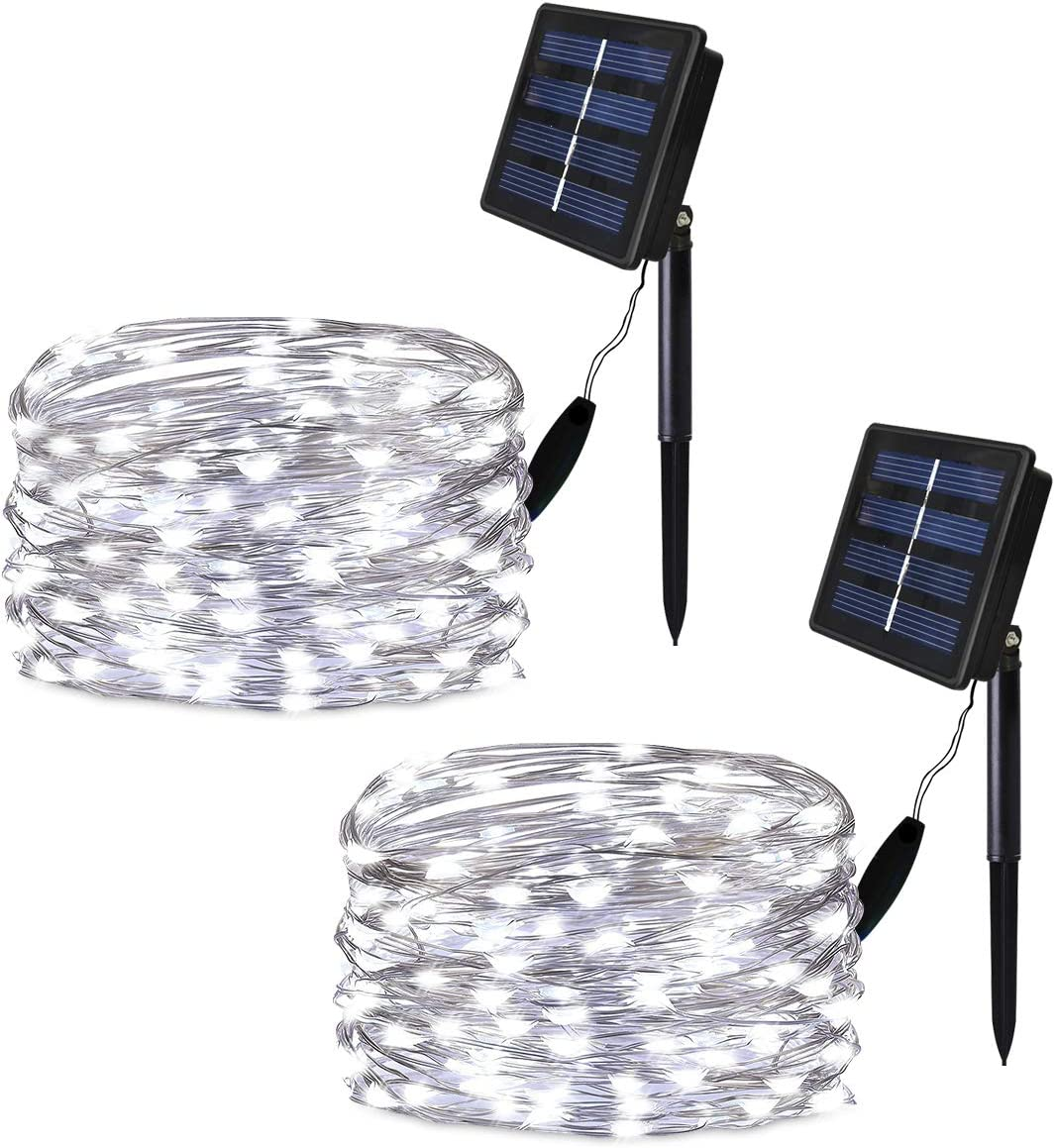 Solarmks Solar String Lights, 2 Pack 100 LED Solar Fairy Lights Waterproof Outdoor String Lights 33ft Copper Wire Lights for Patio Lawn Garden Gate Yard Party Wedding Christmas Decoration,Cool White