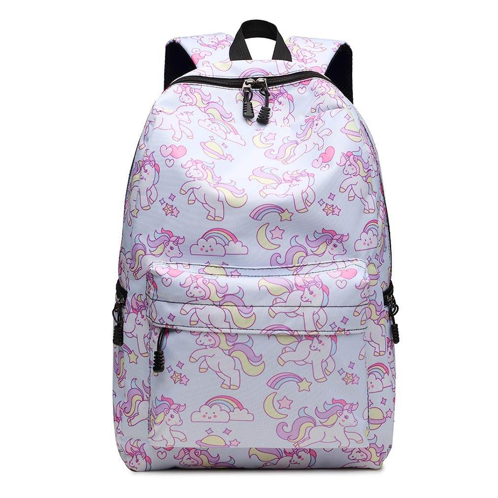 Kono Unicorn Pattern Student Bookbag Cute Rainbow Printed Backpack for Girls Women Boy Polyester School Travel Casual Rucksack (Light Blue)