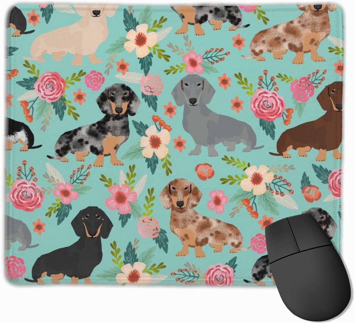 Mouse Pad with Design Dachshunds Dog with Flower Print for Computer Office Gaming