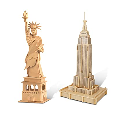 Puzzled Bundle of The Statue of Liberty & Empire State Building Wooden 3D Puzzle Construction Kits, Fun Educational DIY Famous Sites Toys Assemble Models Unfinished Wood Craft Hobby Puzzles - 2 Pack: Toys & Games