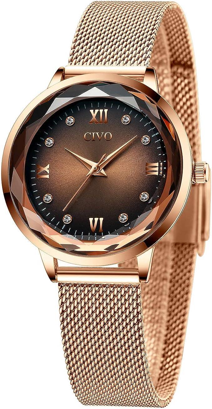 CIVO Relojes Mujeres Oro Rosa Impermeable de Acero Inoxidable Reloj Mujer de Pulsera Marea Vestido Relojes Analógicos con Esfera Cielo Estrellado para Mujeres Damas Niñas