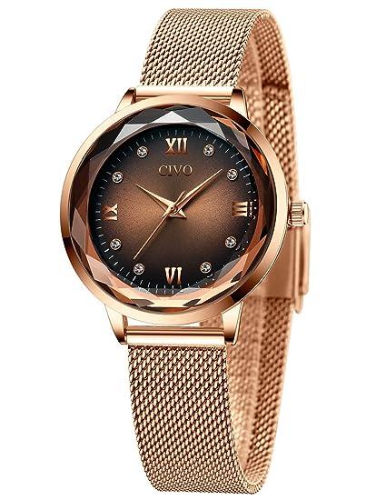 CIVO Relojes Mujeres Oro Rosa Impermeable de Acero Inoxidable Reloj Mujer de Pulsera Marea Vestido Relojes Analógicos con Esfera Cielo Estrellado para ...