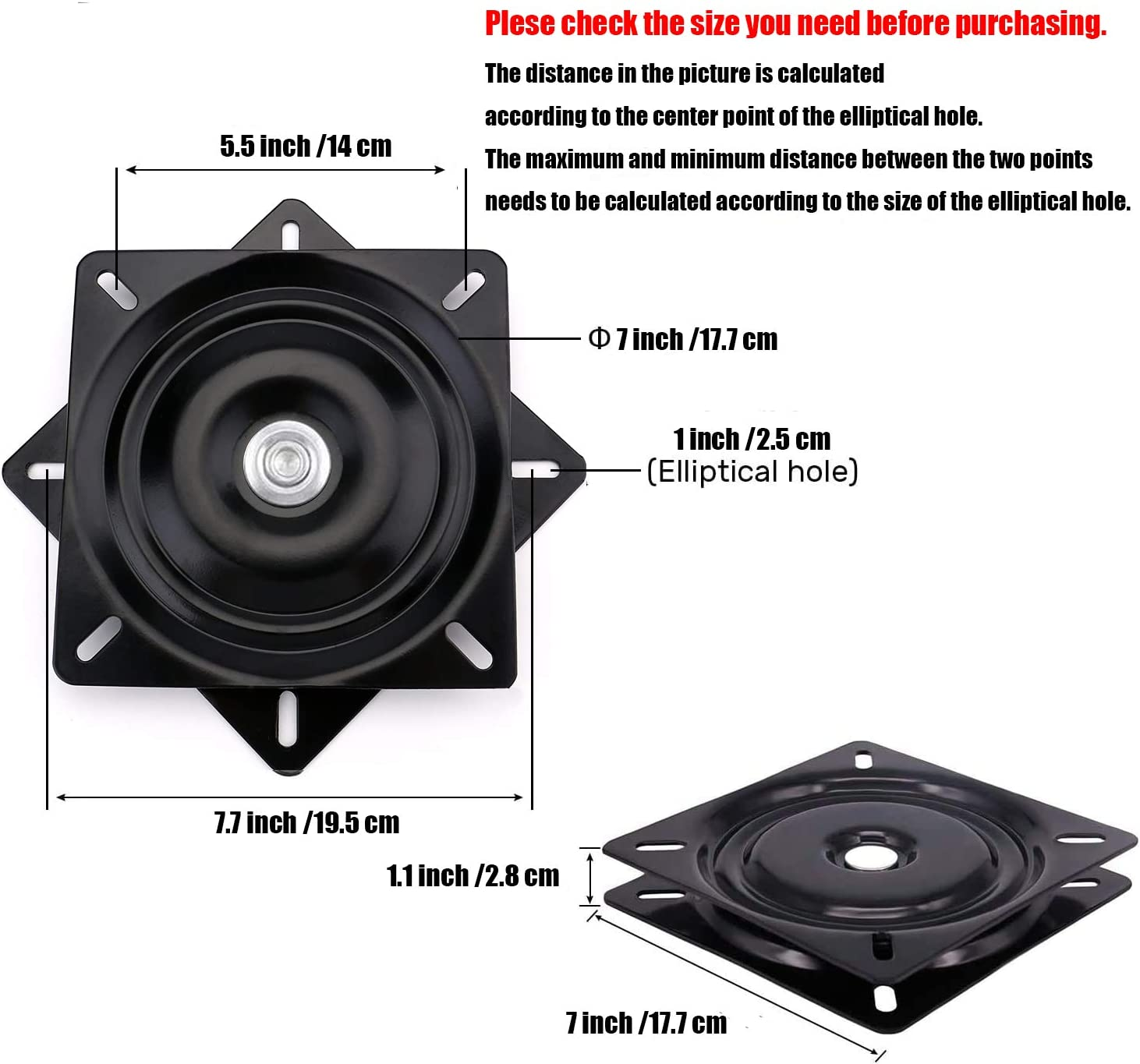 Seat Swivel Base Mount Plate for Bar Stool, Chair, 400-lb Load Capacity 7INCH