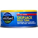 Wild Planet Skipjack Light Tuna No Salt, 5 Ounce (Pack of 12)