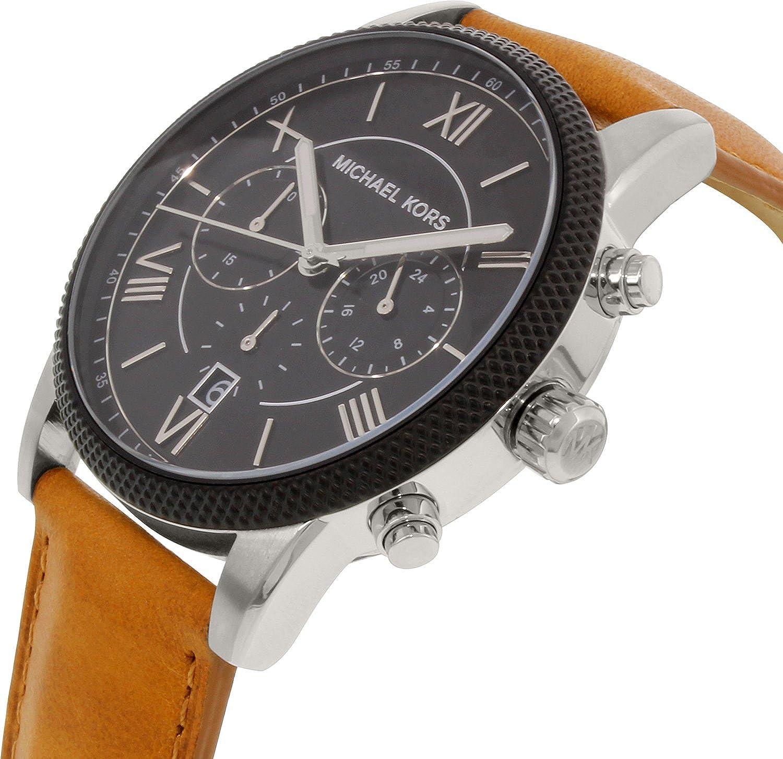 Amazon.com: Michael Kors Men\u0027s MK8394 - Hawthorne Silver/Black/Tan: Michael  Kors: Watches