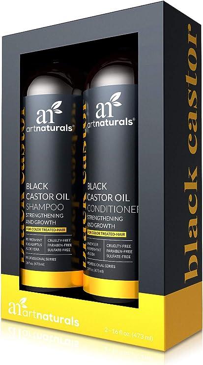 ArtNaturals, Set de champú y acondicionador de aceite de ricino – (473 ml) – Fortalece, hace crecer y restaura – Ricino de Jamaica – Para el cabello tratado con color: Amazon.es: Belleza