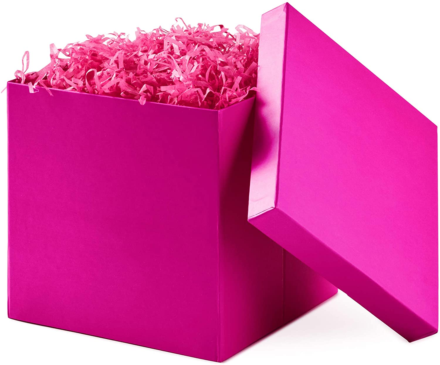 """Hallmark 7"""" Gift Box with Lid (Hot Pink) for Birthdays, Bridal Showers, Weddings, Baby Showers and More (Hot Pink)"""