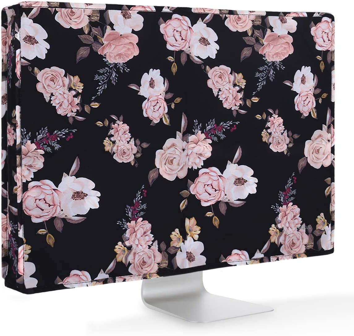 MOSISO Monitor Dust Cover 26, 27, 28, 29 inch Anti-Static LCD/LED/HD Panel Case Pattern Screen Display Protective Sleeve Compatible with 26-29 inch iMac, PC, Desktop Computer and TV,Black Base Peony