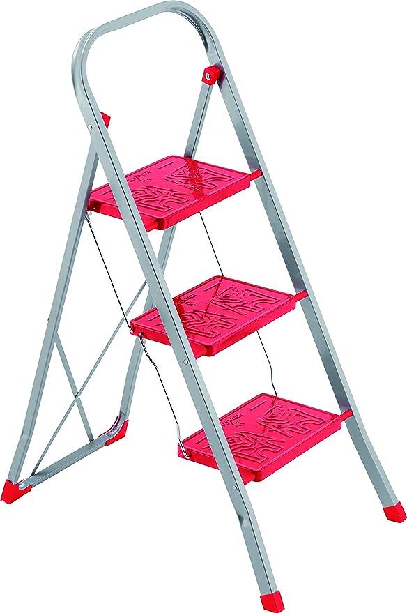 Framar Slimmy 3 - Escalera de acero, 3 peldaños, color rojo ...