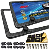 Aootf Carbon Fiber License Plate Frames -4 Holes Black Aluminum License Plate Frames Printing Carbon Fiber Pattern Metal Fram