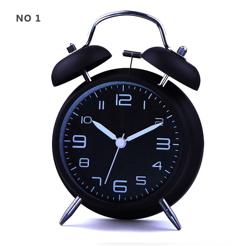 Hito Sveglia a campana con movimento al quarzo, luce notturna senza ticchettio, 10 cm, nostalgica, suono potente NO1