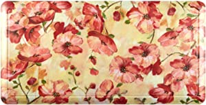 "Home Dynamix Printed Embossed Gentle Step Anti-Fatigue Kitchen Mat, 19.6""x39.3"", Red Poppy Floral"