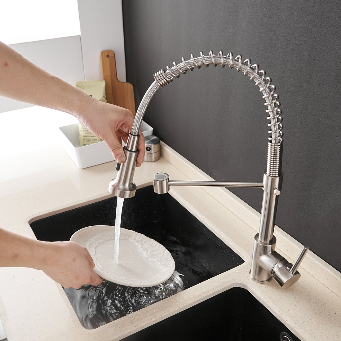 OWOFAN Lead-Free Commercial Solid Brass Single Handle Single Lever Pull Out Pull Down Sprayer Spring Kitchen Sink Faucet, Brushed Nickel Kitchen Faucets by OWOFAN (Image #3)