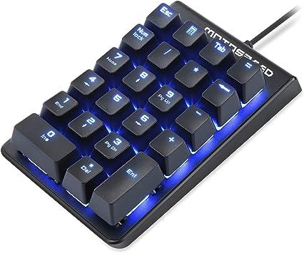 MOTOSPEED Teclado numérico mecánico rojo con cable de 22 teclas Mini Numpad portátil teclado retroiluminado Gaming Keypad diseño extendido para cajero