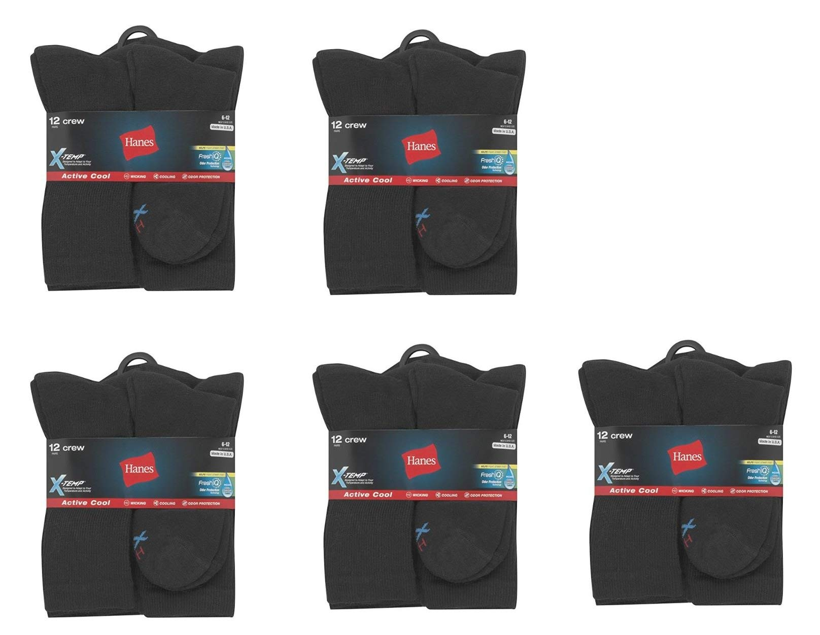 Mens Active Cool Crew Socks, Black, Sock Size 10-13 Shoe Size 6-12, 60 Pack