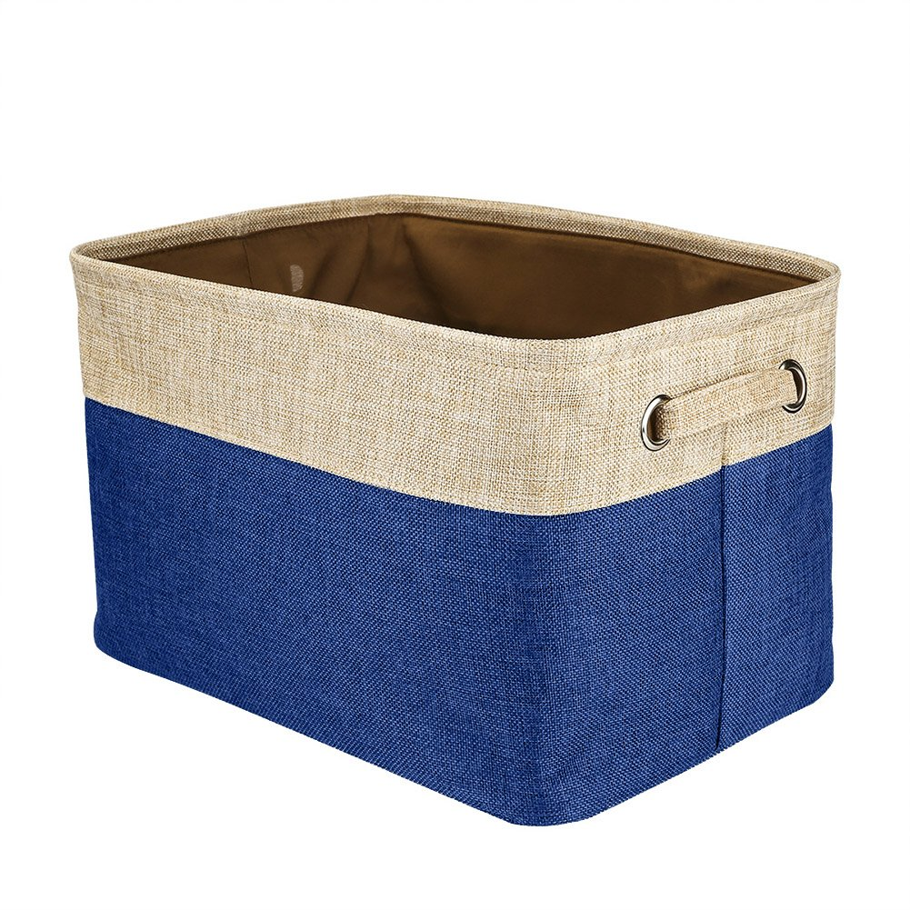 Walsilk Storage Bin Baskets,Foldable Canvas Fabric Tweed Storage Cube Basket Bin Organizer Set,for Nursery, Office, Closet, Bedroom, Toy Clothes (6PCS, Dark Blue)
