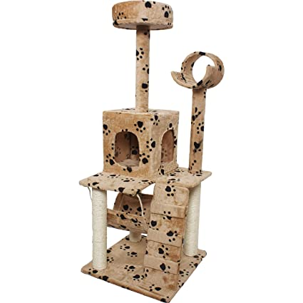Goplus 52u0026quot; Cat Tree Condo Furniture Scratch Post Pet House Navy/beige  Paws (