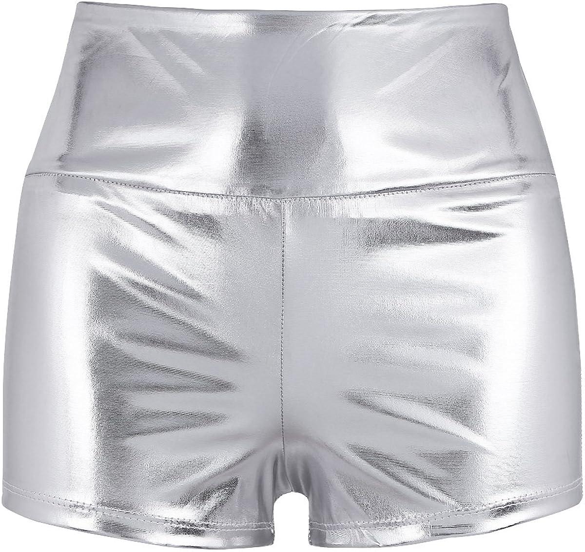 TiaoBug Pantalones Cortos de Cuero Sexy Shorts Mujer Brillante Elastico de Danza Cintura Super Alta y Elástica