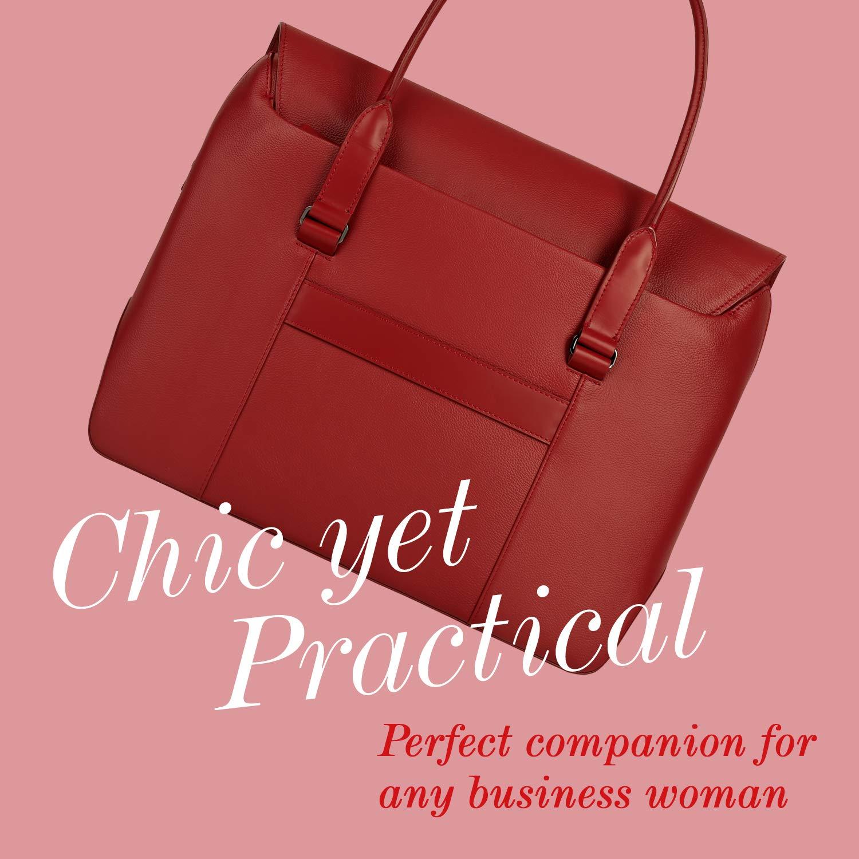 Lipault - Plume Elegance Tote Bag - 15.6'' Laptop Top Handle Shoulder Handbag for Women - Ruby by Lipault (Image #5)