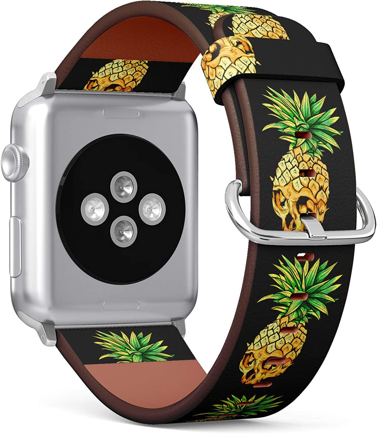 ( Tropical Pineapple Skull )Patterned Leather Wristband Strap for Apple Watch Series 4/3/2/1 gen ,Replacement for iWatch 38mm / 40mm bands