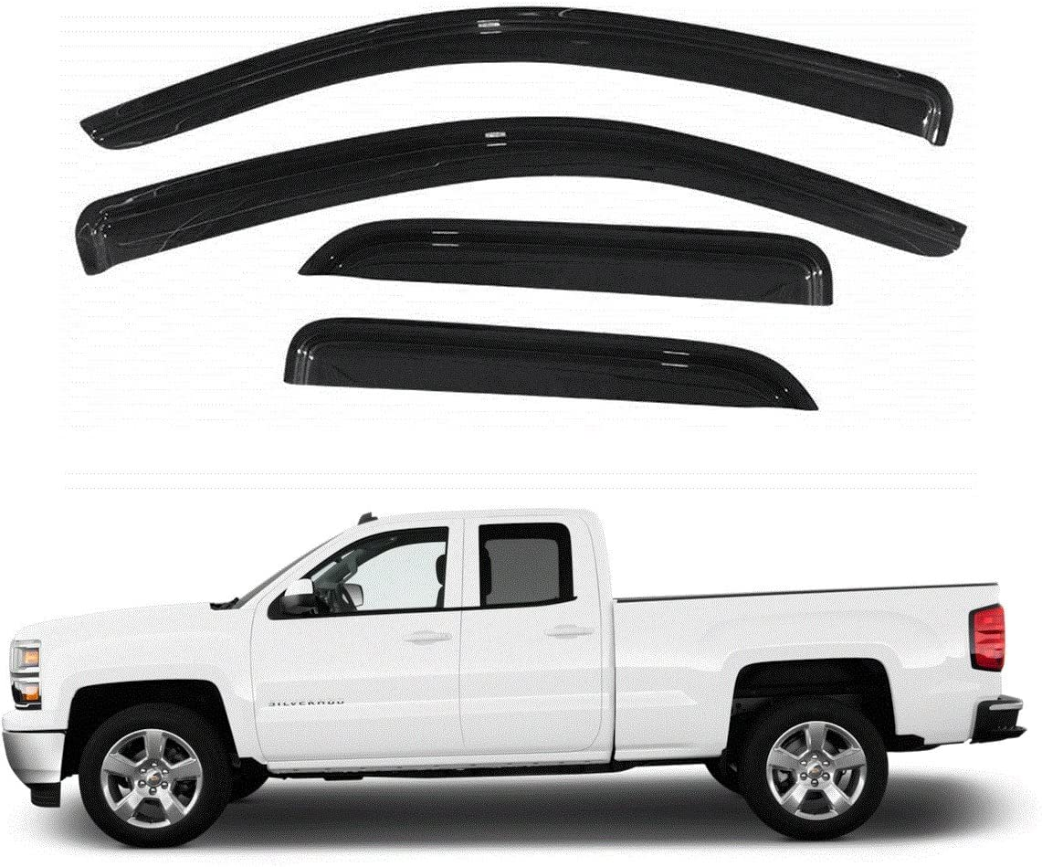 VioletLisa New 4pcs For Chevy//GMC//Cadillac Crew Cab SUV Dark Smoke Out-Channel//Outside Mount Style Wind Sun Rain Guard Vent Shade Deflector Window Visors