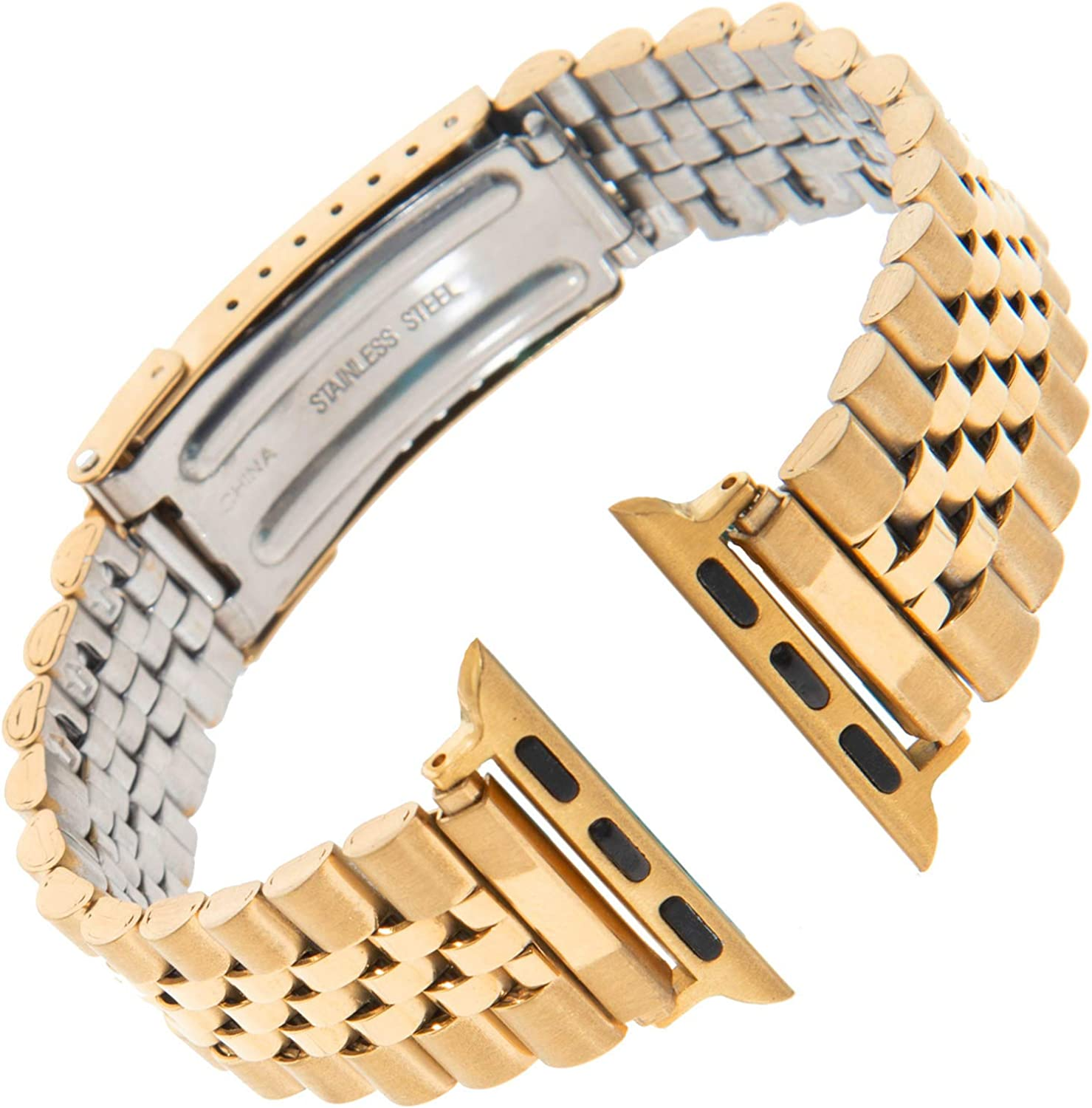 Gilden for Apple 38mm/40mm Jubilee-Style Non-Expansion Extra-Long Stainless Steel Watch Band 1542-SMART